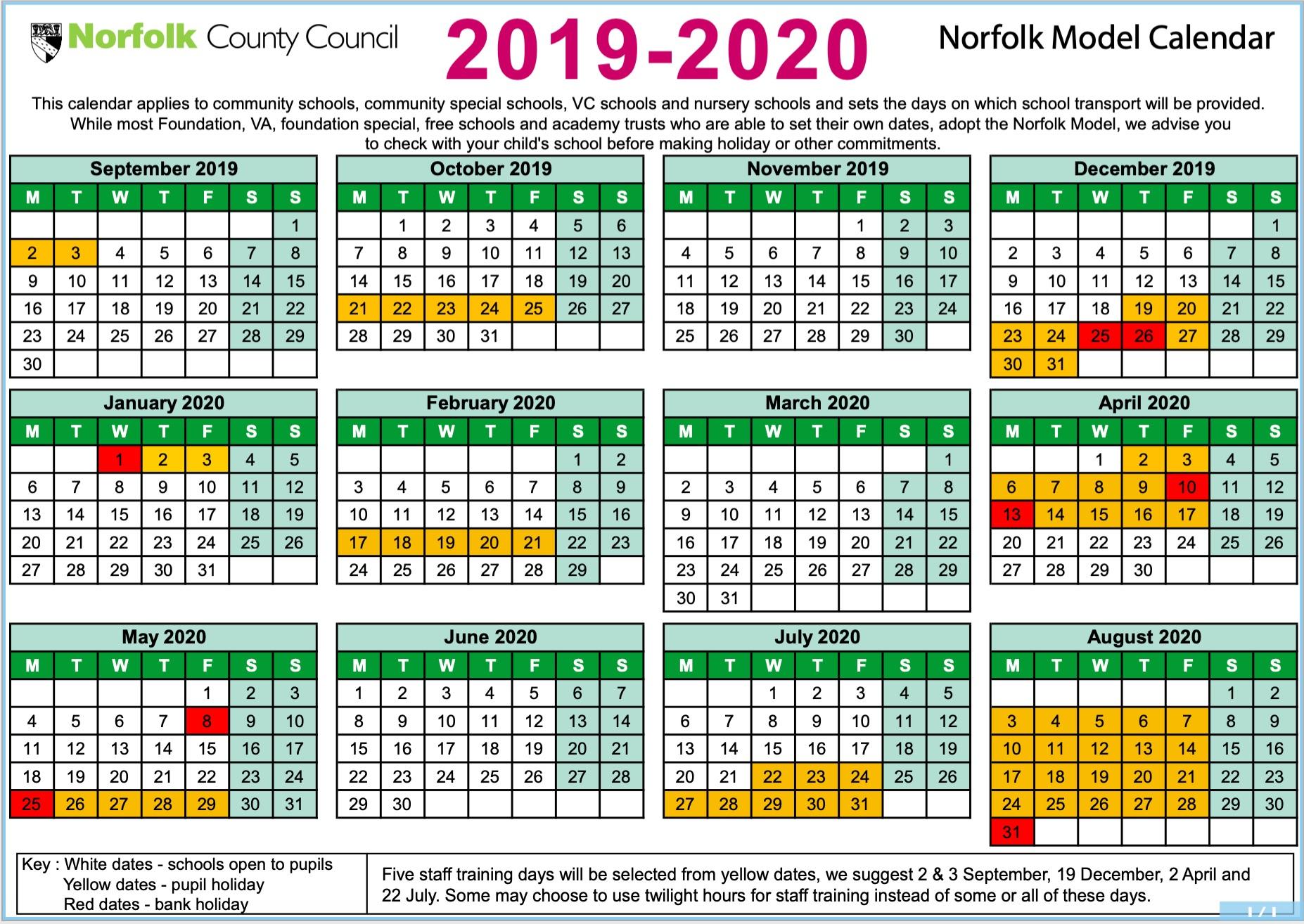Term-date Calendar 2019 to 2020 image