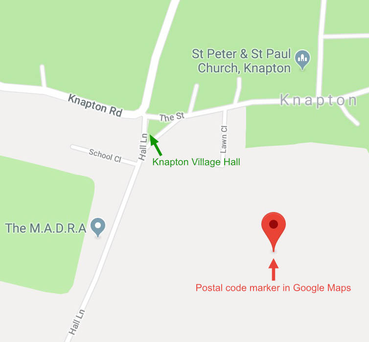 Location of Knapton Village Hall
