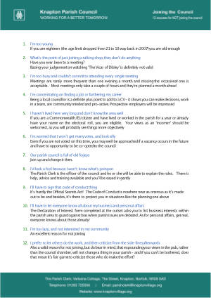 12 excuses for not joining the Parish Council - image