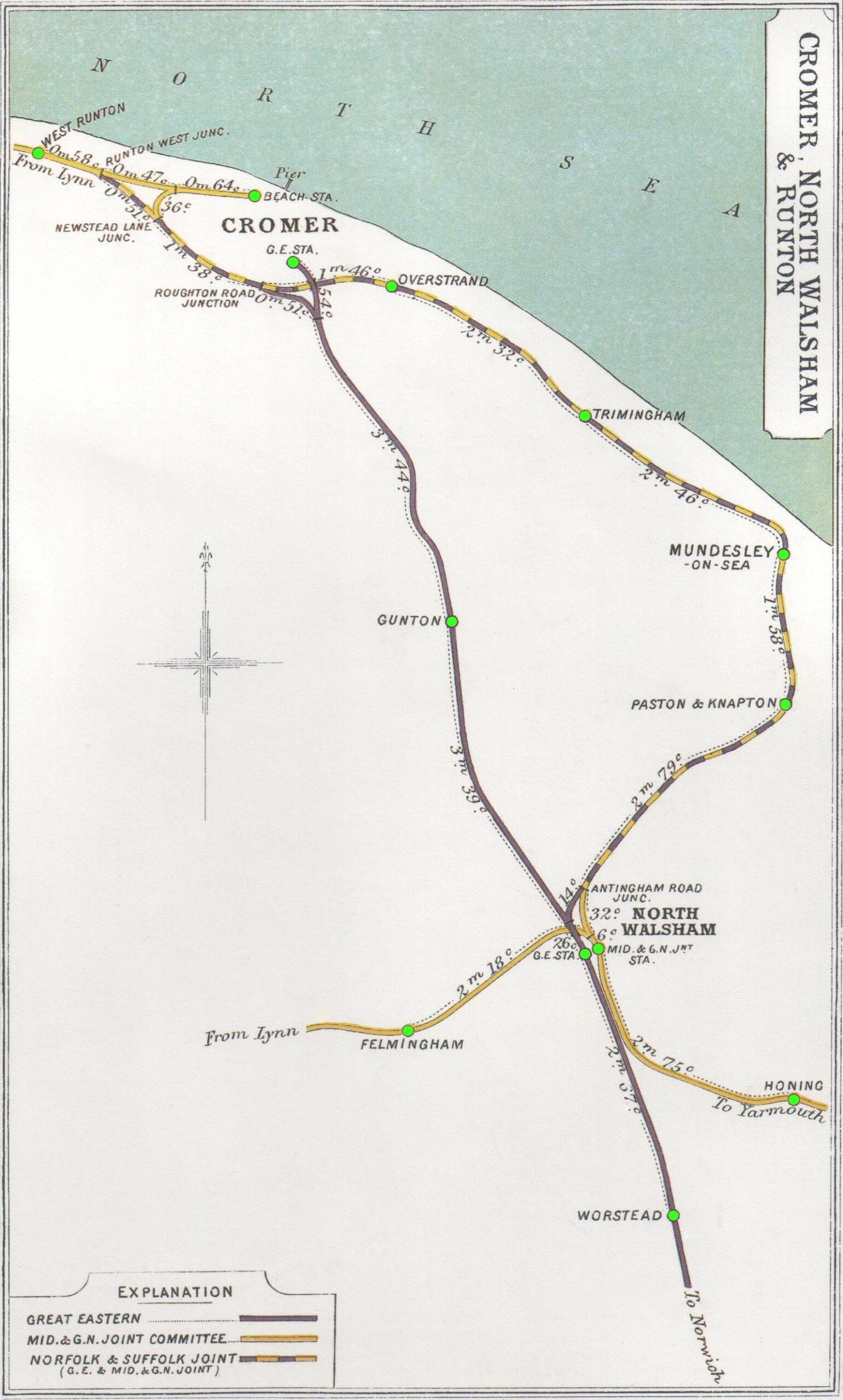 Map showing North Walsham to Cromer railways
