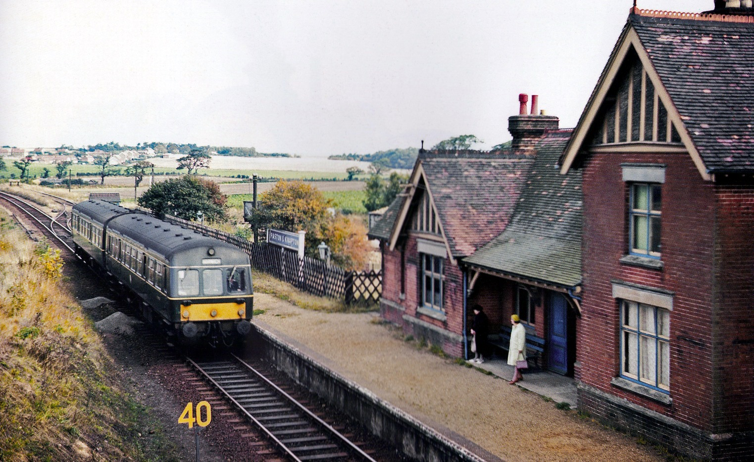 DMU at Knapton Station. Behind the Met-Cam is the small ground frame-operated goods yard used for sugar beet. Photo was taken 1962-64