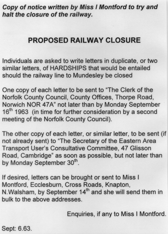 Copy of Written Notice opposing one closure
