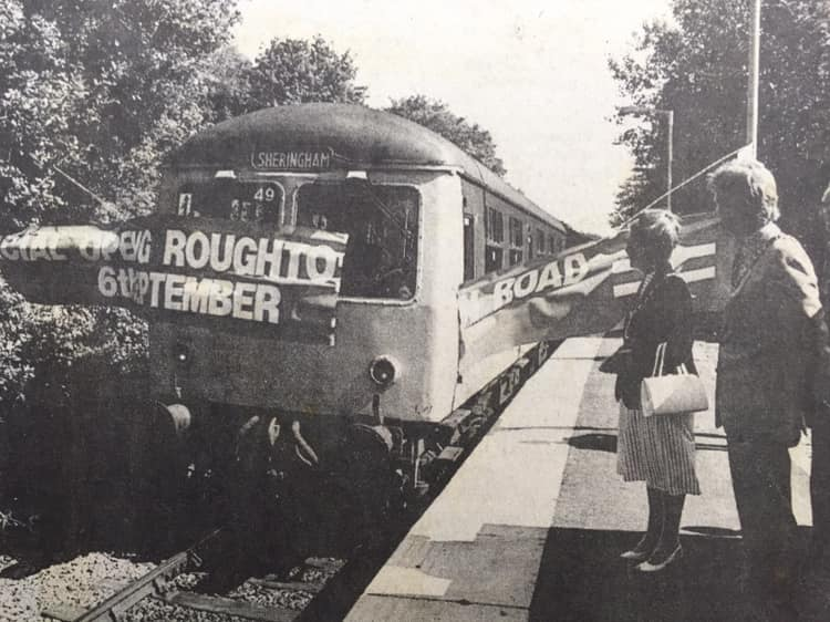 Opening day of Roughton Road Halt station