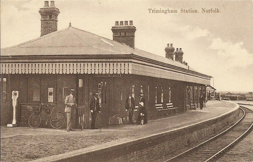 Trimingham railway station - early 1900s - postcard - Author Battson Cromer