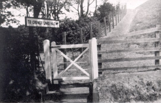 Cromer Links Halt was new in 1923 when this sign pointed up the slope to the single platform